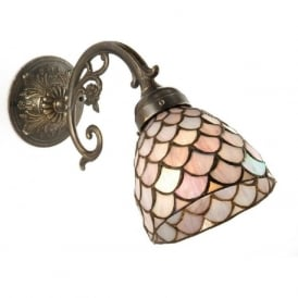 ELIZABETH aged brass wall light with pink Tiffany shade