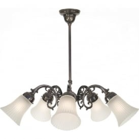 ELIZABETH traditional 5 light aged brass ceiling pendant