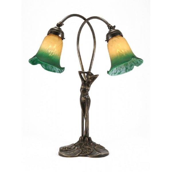Traditional Art Nouveau Table Lamp Female Figure In Aged
