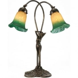 ELIZABETTA Art Nouveau female figure antique brass table lamp