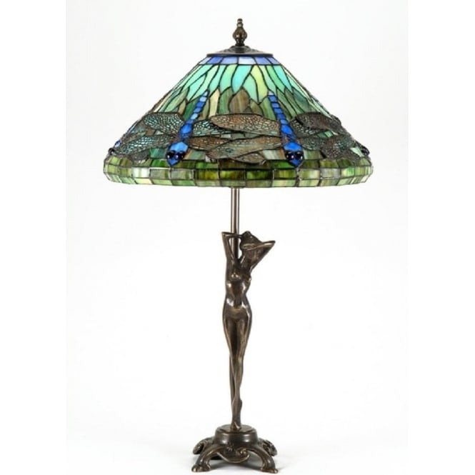 Tiffany Art Glass Dragonfly Table Lamp On Brass Nude Lady Base