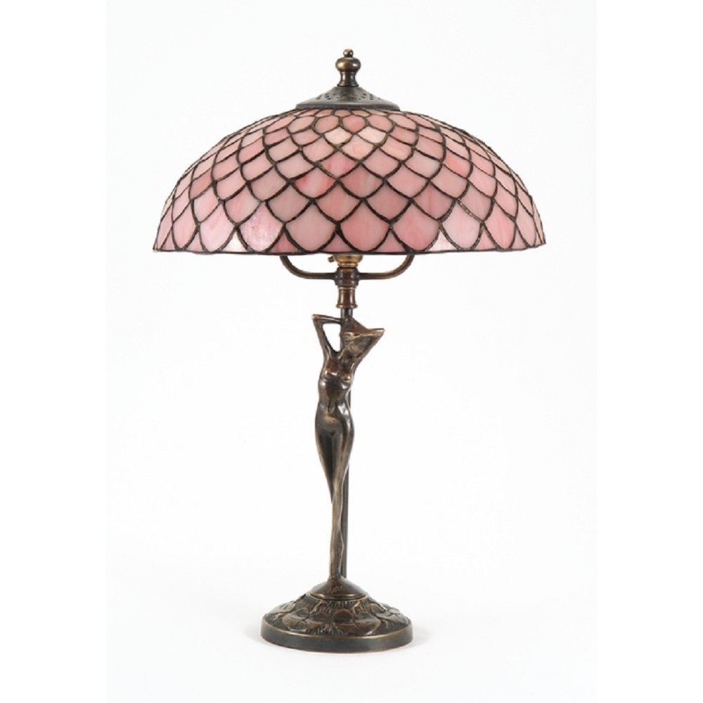 Tiffany Table Lamp Aged Brass Base Pink Tiffany Glass Shade