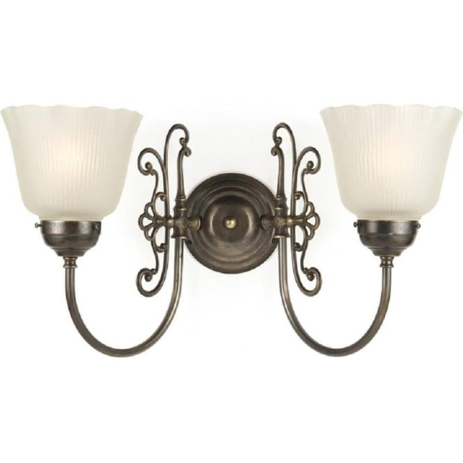 Edwardian Period Wall Lights : Classic Victorian Double Wall Light in Aged Brass with Halophane Shades
