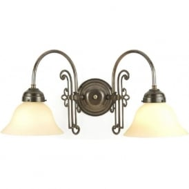 ETON Victorian aged brass double wall light