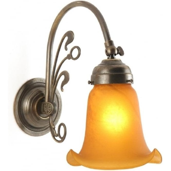 Replica victorian wall light in aged brass with amber glass shade fleur de lys art nouveau style victorian wall light aloadofball Images