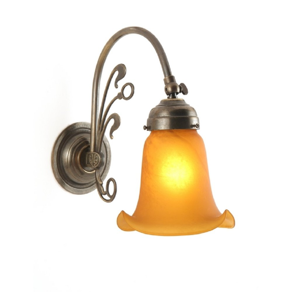 Replica Victorian Wall Light in Aged Brass with Amber Glass Shade