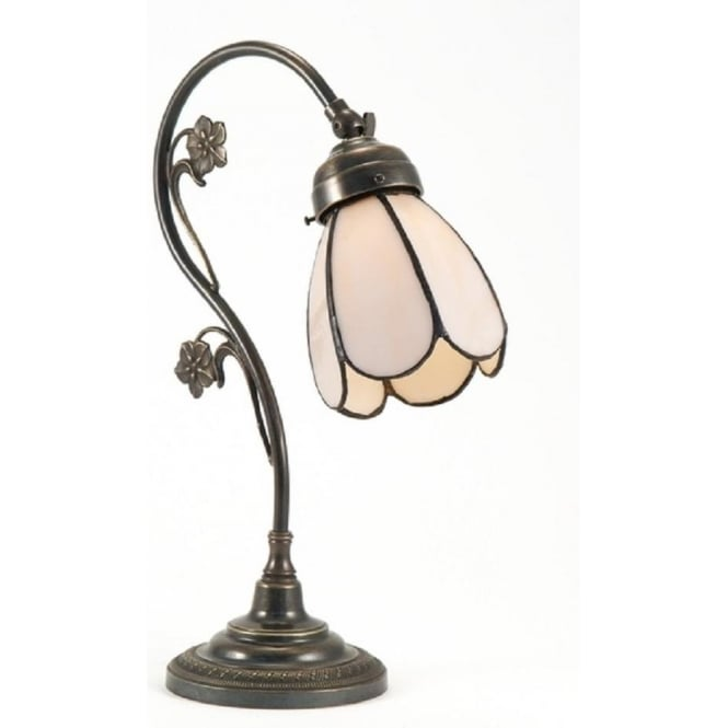 Period Lighting Collection FLORAL Art Nouveau swan neck table lamp, Tiffany shade