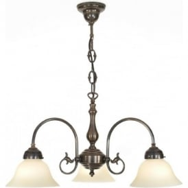 FREDA 3 light Victorian ceiling pendant, aged brass