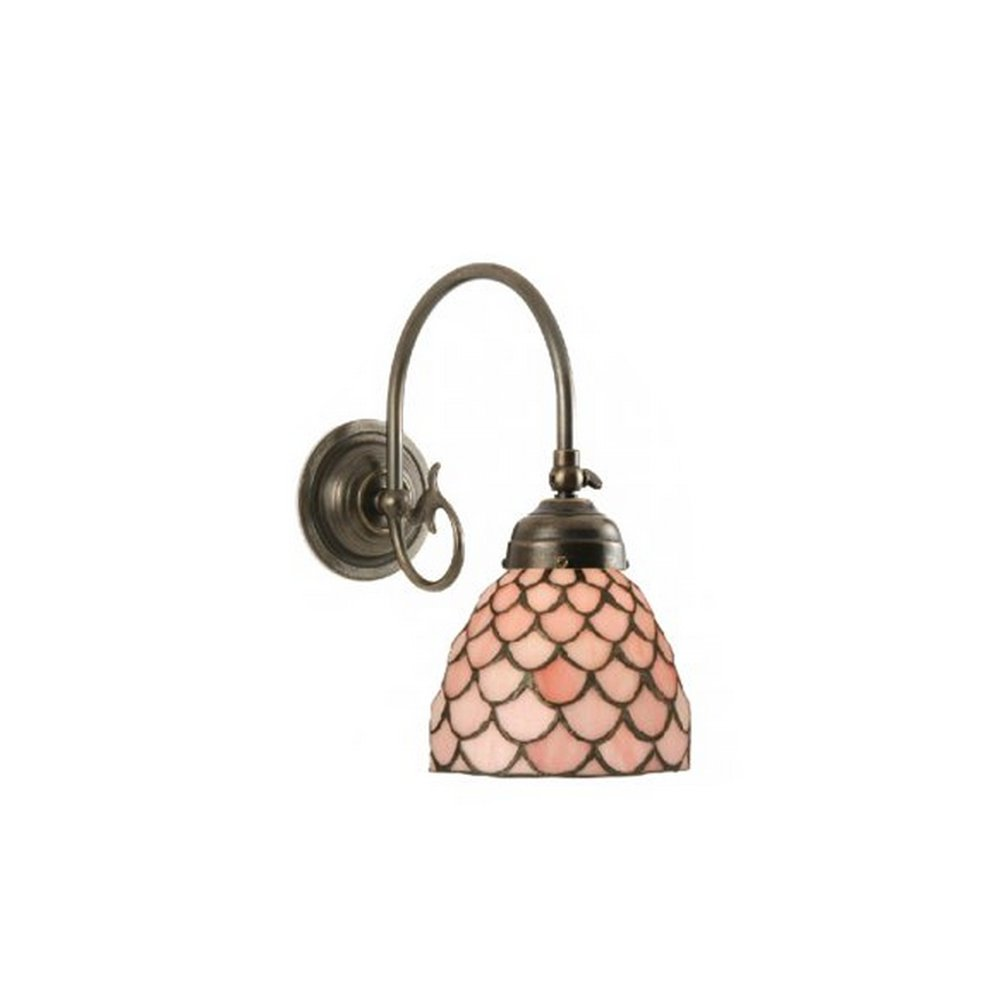 Tiffany Wall Light with Adjustable Head on Solid Antique Brass Fitting
