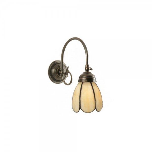 Tiffany Wall Light in Dark Aged Brass Metal, Buttermilk Petal Shade