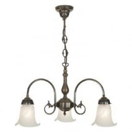 FREDA Victorian ceiling light with alabaster glass shades