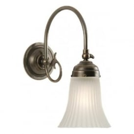 FREDA Victorian single aged brass wall light with glass shade
