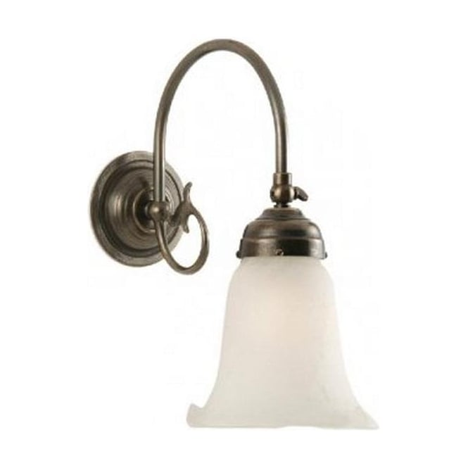 Period Lighting Collection FREDA wall light in traditional aged brass, white alabaster shade