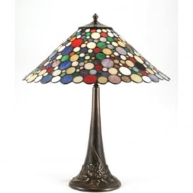 GENEVA aged brass table lamp with Tiffany glass shade