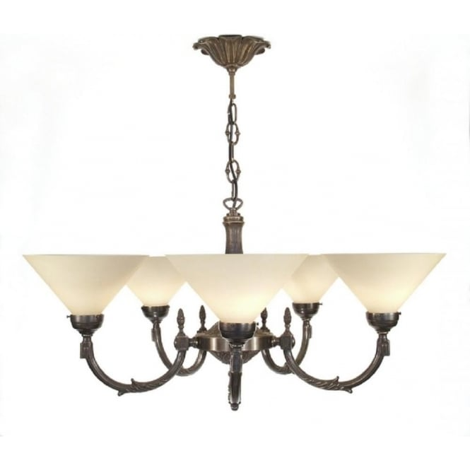Period Lighting Collection GEORGIAN aged brass 5 arm period chandelier