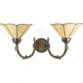 GEORGIAN traditional wall light, aged brass, Tiffany shades