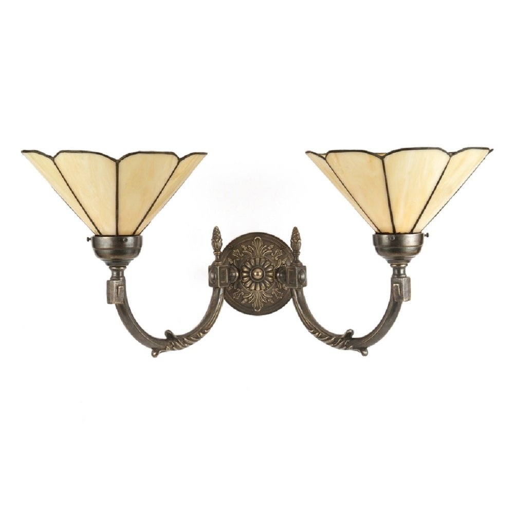 Large Double Wall Light In Aged Brass With Tiffany Glass Shades