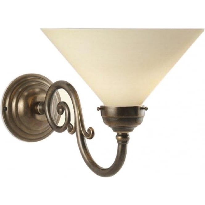 Edwardian Period Wall Lights : Character Dark Metal Wall Light, Aged Solid Brass, Choice of Shades