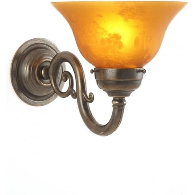 Traditional Reproduction Victorian Wall Light with Amber Glass Shade