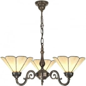 GRANDE Victorian ceiling pendant with buttermilk Tiffany shades