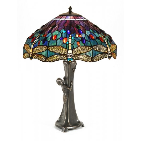 Gurschner Art Nouveau Table Lamp With Tiffany Dragonfly Shade