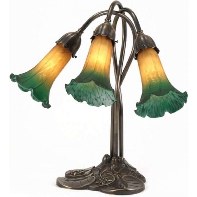 Victorian Or Edwardian Art Nouveau Table Lamp Amber Green
