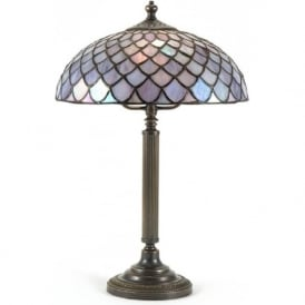 NELSON Tiffany table lamp, aged brass base