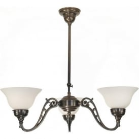 NOUVEAU 3 arm traditional ceiling pendant, aged brass