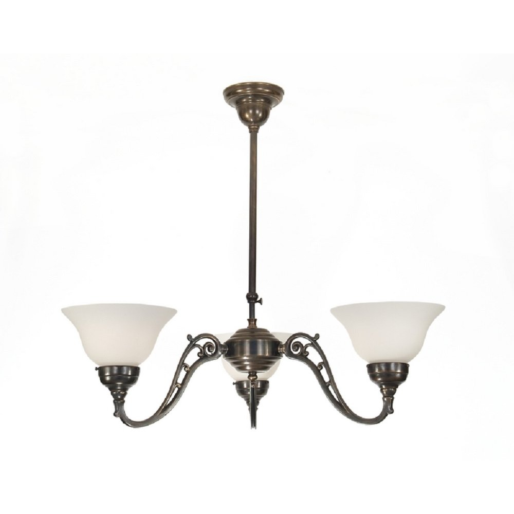 Traditional Aged Brass Ceiling Light With 3 Upward Facing