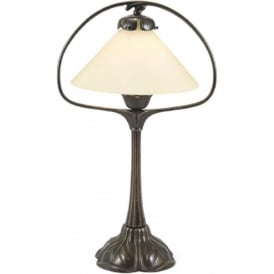 NOUVEAU aged brass hoop table lamp with cream coolie shade