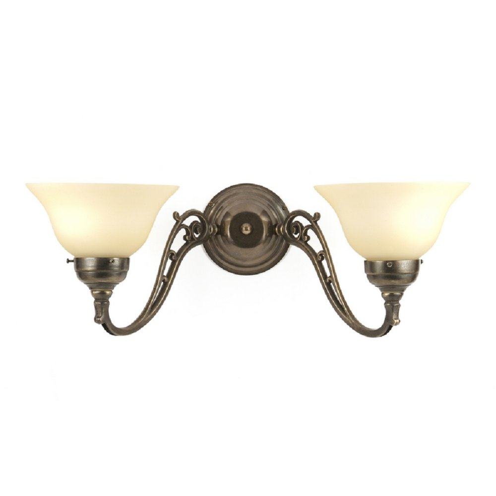 Nouveau Double Twin Wall Light, Victorian Period Fitting, Cream Shades