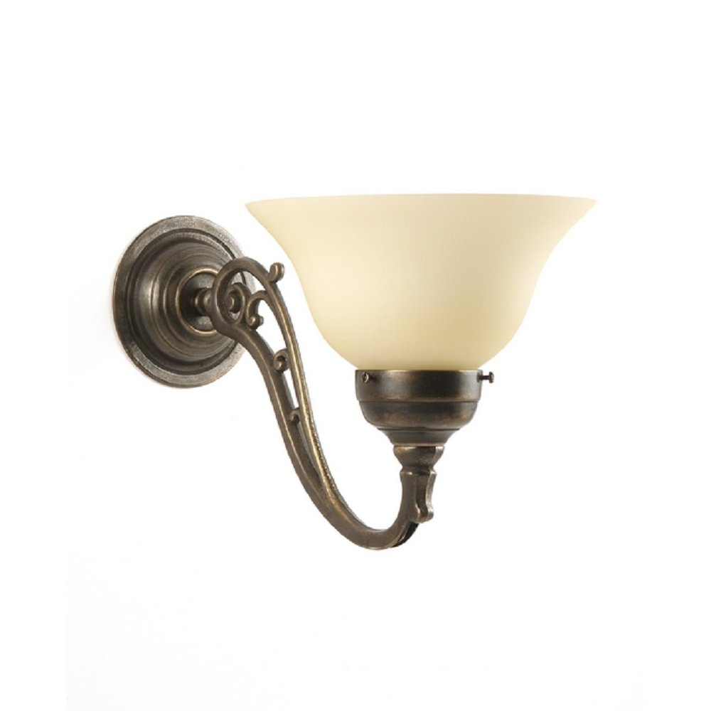 Brass Wall Lights With Shades : Wall Light Fitting in Tradtional Style with Choice of Glass Shades