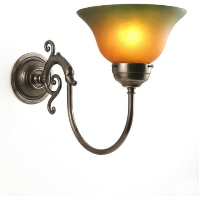 Period Lighting Collection SERPENT Victorian aged brass single wall light