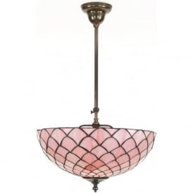 UMBRELLA Tiffany uplighter ceiling light, pink shade