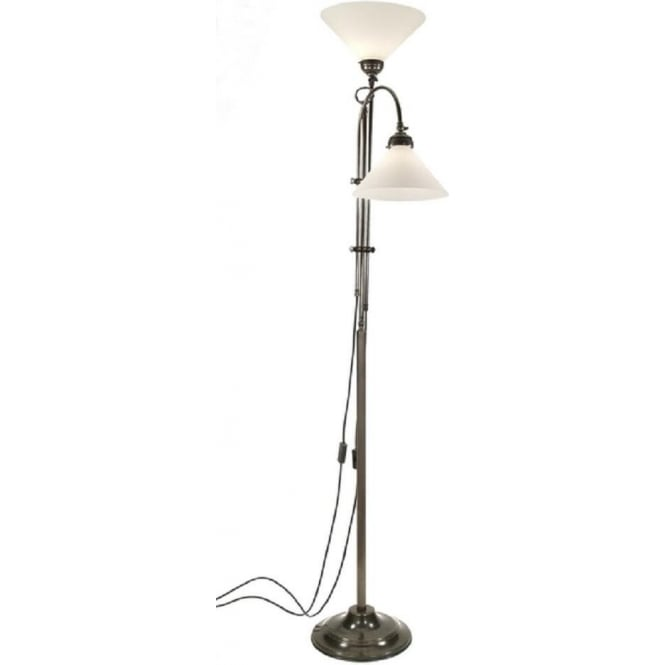 Period Lighting Collection VICTORIAN double headed aged brass floor lamp