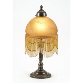 VICTORIANA aged brass table lamp with buttermilk fringed glass shade