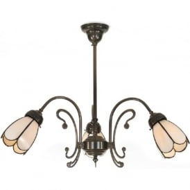 WINDSOR traditional Victorian aged brass 3 arm ceiling light