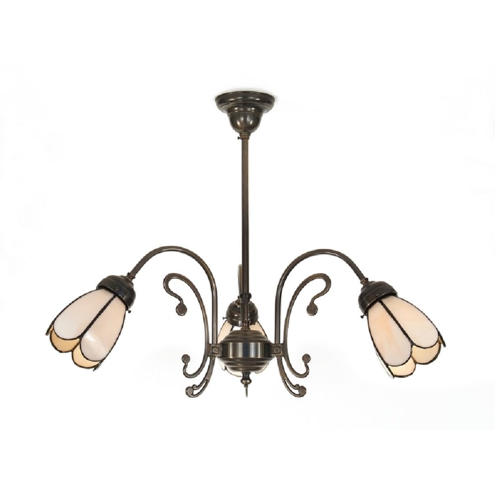 Victorian Period Ceiling Light With 3 Tiffany Panelled