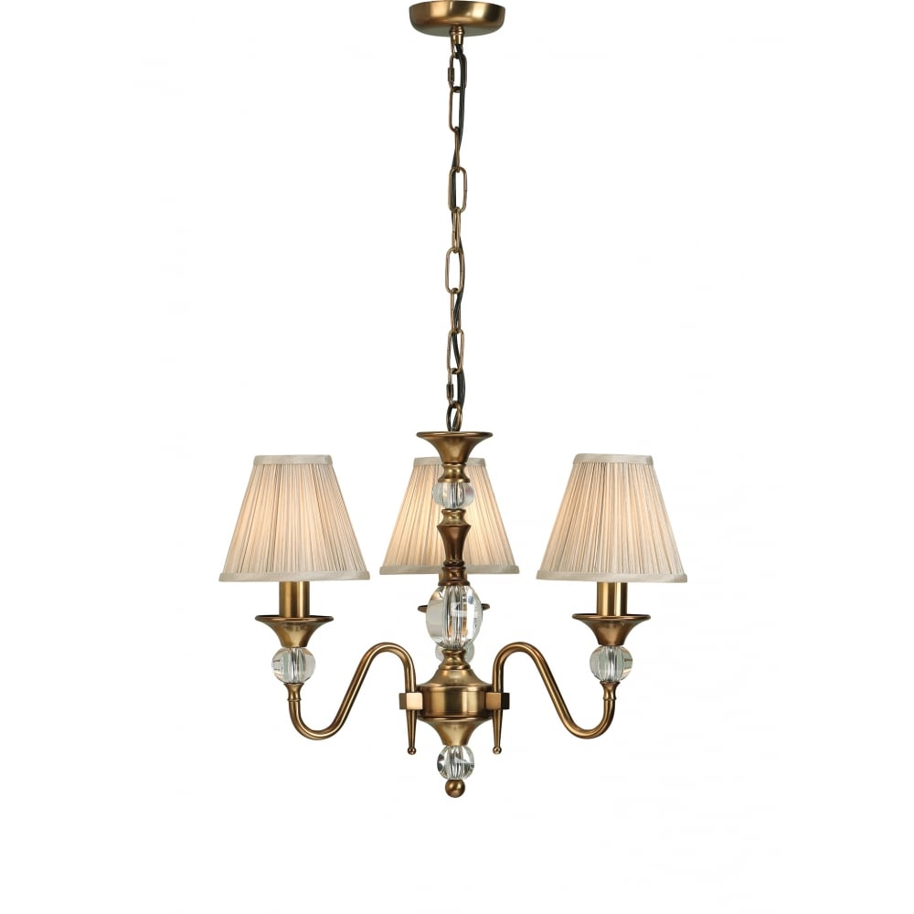 Flemish Style 3 Light Chandleier in Antique Brass with ...