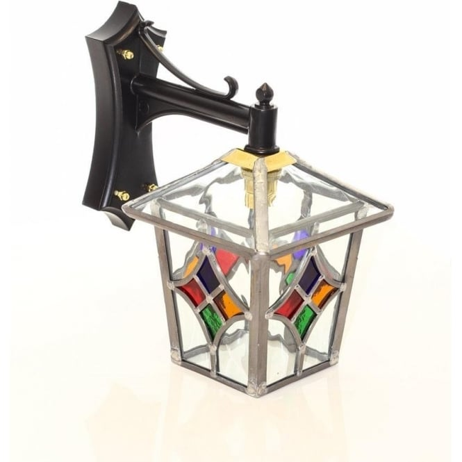 Decorative Traditional Outdoor Wall Lantern With Stain Glass Shade