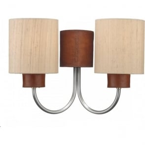 Artisan Lighting SADDLER twin wall light, leather effect complete with taupe shades