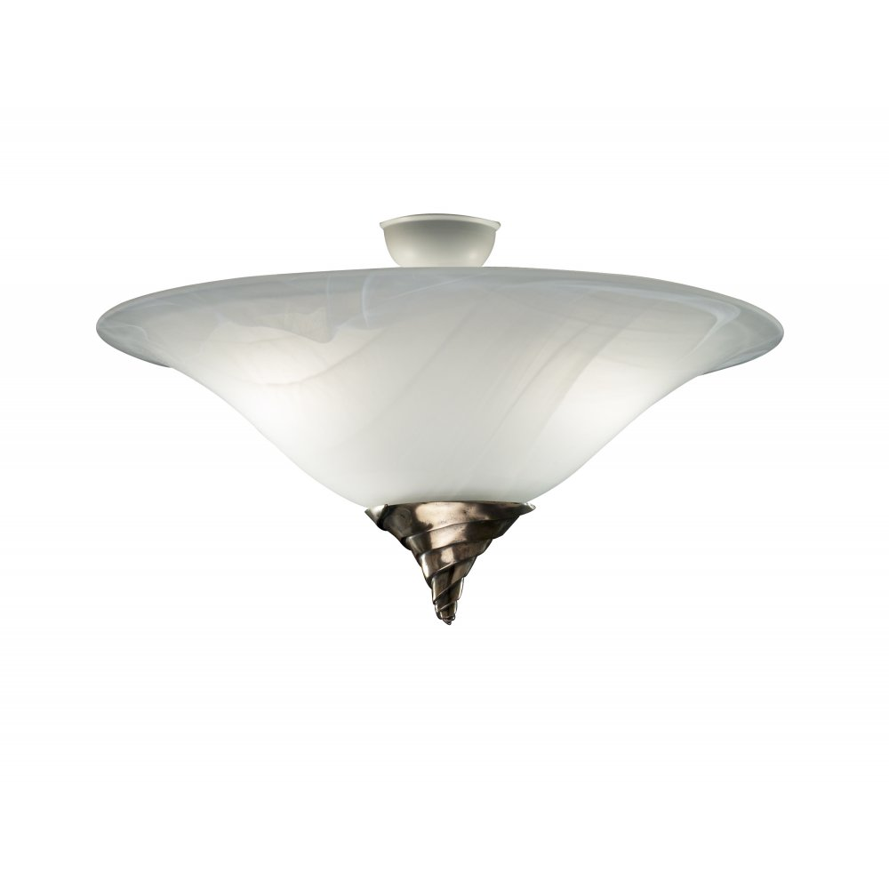 Types Of Ceiling Lights: Ceiling Light Uplighter SPIRAL Semi Flush Marbled Glass For Low Ceilings