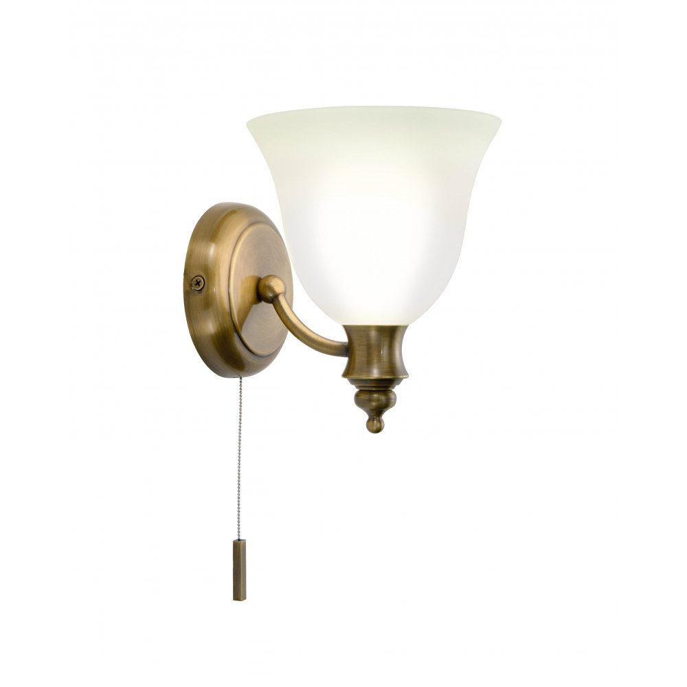Self Switched Wall Lights : Traditional Victorian Antique Brass Period Wall Light with Pull Switch.