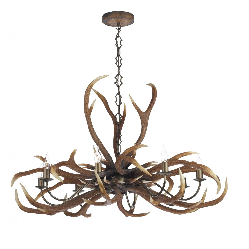 Large Rustic Ceiling Light Fitting Featuring Emperor Stag ...