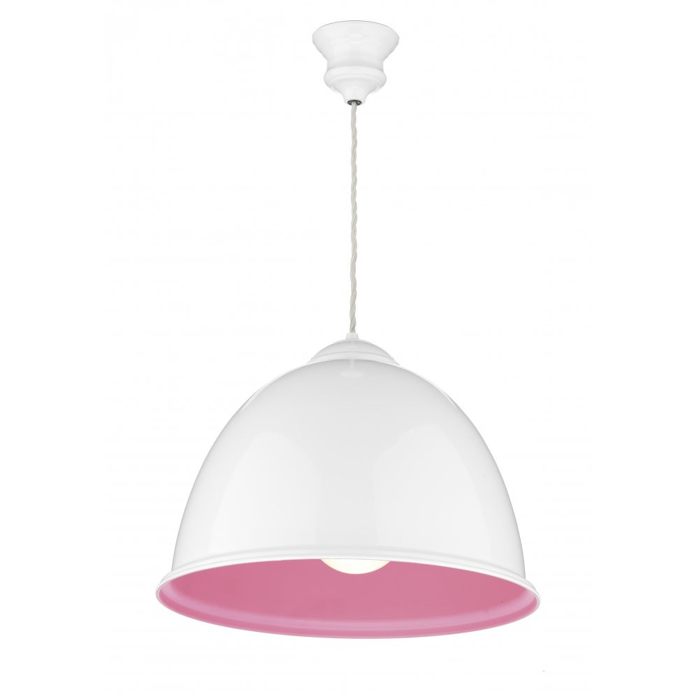 Double Insulated White Metal Ceiling Pendant Painted Pink On Inside