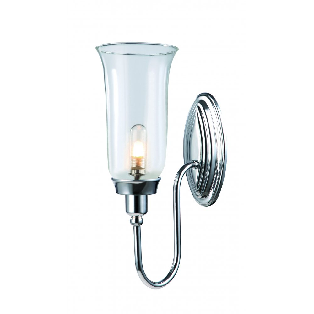 Traditional Bathroom Wall Lamps : Blake Traditional Bathroom Wall Light with Storm Glass Shade, IP44