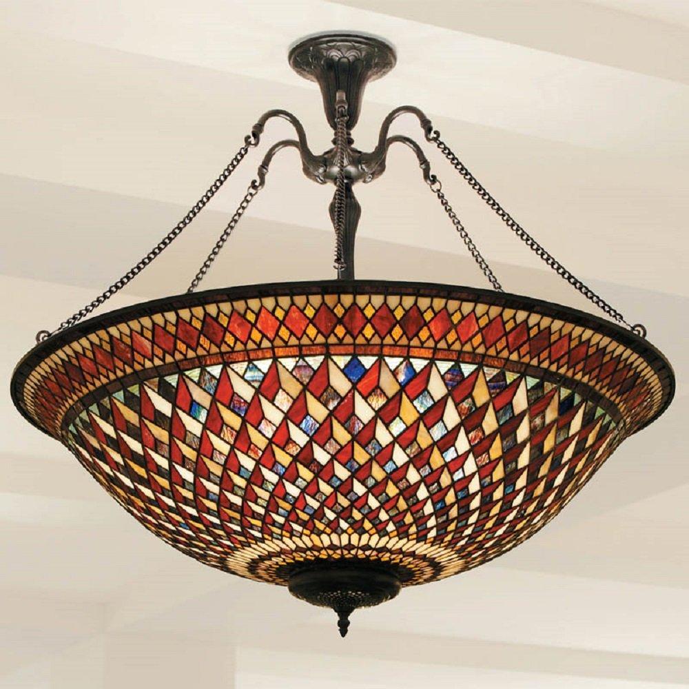 Large Tiffany Uplighter Ceiling Pendant Light Red