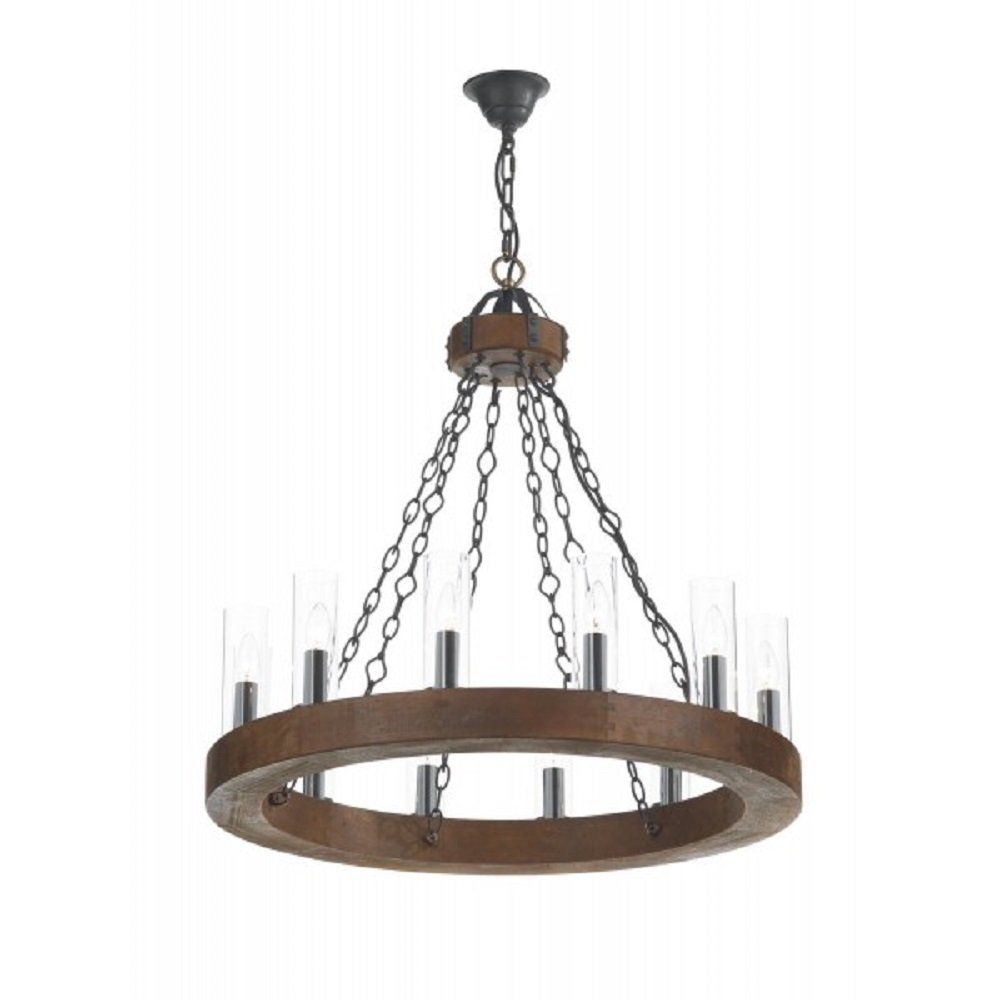 Cartwheel Ceiling Light Rustic Wooden Fitting With Candle