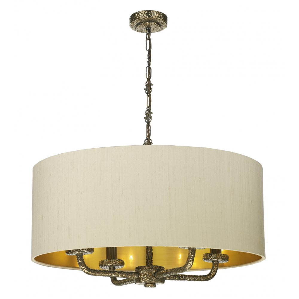 Ceiling Lights Pendant : Large taupe ceiling pendant light shade on bronze frame