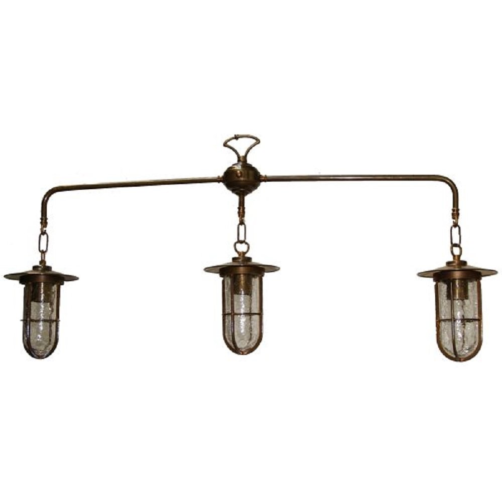 Industrial Style Rustic Suspended Ceiling Pendant With 3